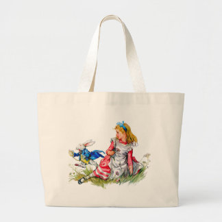 The White Rabbit races by Alice - he's late! Large Tote Bag