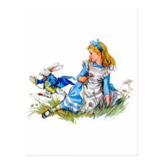 The white rabbit races by Alice - he's late! Postcard