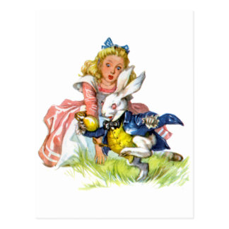 The white rabbit races by Alice Postcard