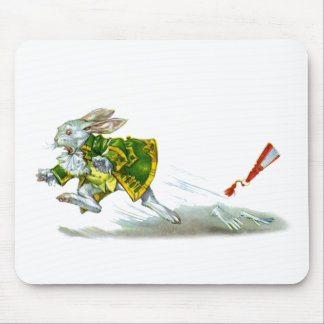 The White Rabbit runs away from Alice Mouse Pad