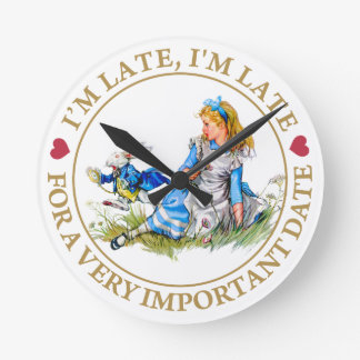 The White Rabbit Rushes By Alice In Wonderland Wall Clocks