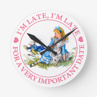 The White Rabbit Rushes By Alice In Wonderland Round Clock