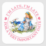 The White Rabbit Rushes By Alice In Wonderland Square Sticker