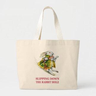 The White Rabbit slips down the rabbit hole. Bag