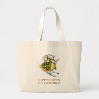 The White Rabbit Slips Down the Rabbit Hole. Tote Bags