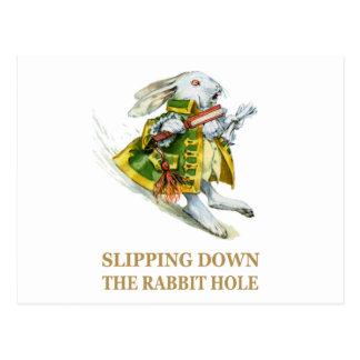 The White Rabbit Slips Down the Rabbit Hole. Postcard