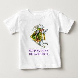 The White Rabbit slips down the rabbit hole. Infant T-shirt