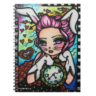 The White Rabbit Wonderland Heart Girl Fantasy Spiral Note Book