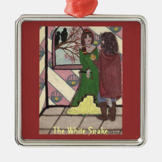 The White Snake Metal Ornament