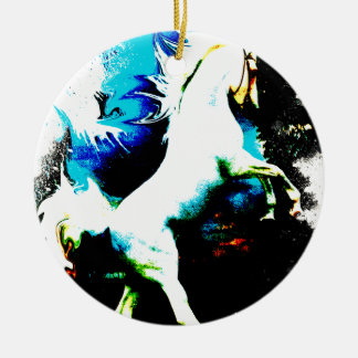 The White Stallion Abstracted Ceramic Ornament