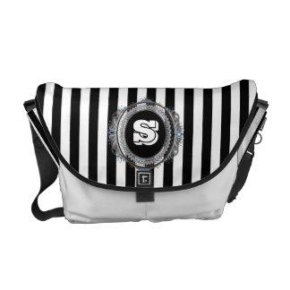 The White Stripe Double Monogram Messenger Bag