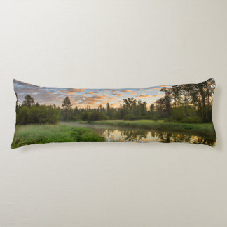 The Whitefish River with nice sunrise clouds Body Pillow