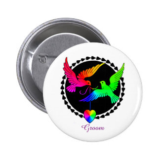 The Whole of the Rainbow Gay Groom's Badge Button