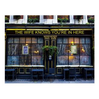 The wife Knows Pub Postcard