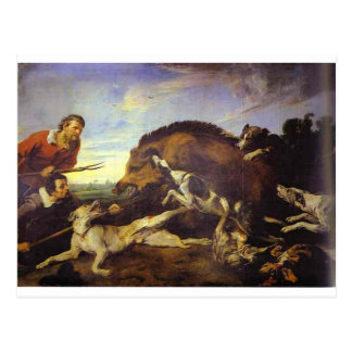 The Wild Boar Hunt by Frans Snyders Postcard
