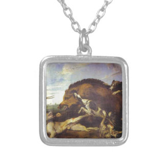 The Wild Boar Hunt by Frans Snyders Silver Plated Necklace