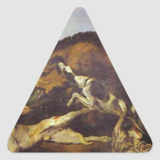 The Wild Boar Hunt by Frans Snyders Triangle Sticker