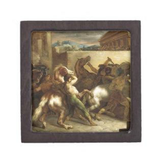 The Wild Horse Race at Rome by Theodore Gericault Keepsake Box