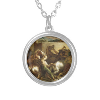 The Wild Horse Race at Rome by Theodore Gericault Round Pendant Necklace