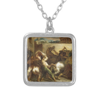 The Wild Horse Race at Rome by Theodore Gericault Square Pendant Necklace