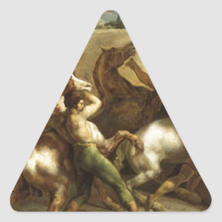 The Wild Horse Race at Rome by Theodore Gericault Triangle Sticker