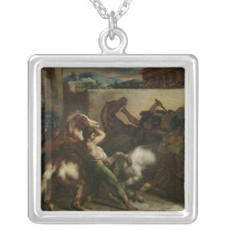 The Wild Horse Race at Rome, c.1817 Square Pendant Necklace