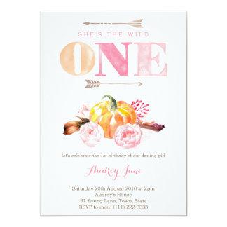 the wild one invites, 1st birthday, boho feathers card