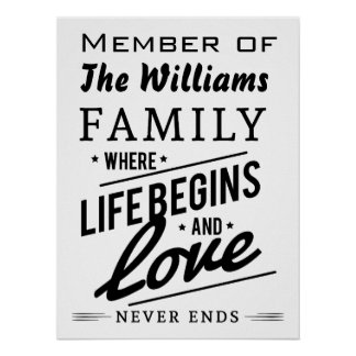 The Williams Family Member Vintage Typography Poster