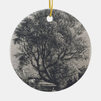 The Willow (etching) Ceramic Ornament