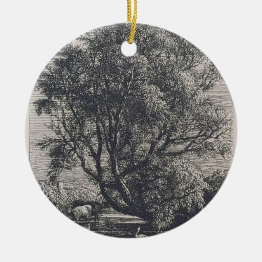 The Willow (etching) Double-Sided Ceramic Round Christmas Ornament