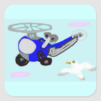 The Wind Up Helicopter & The Seagull Square Sticker
