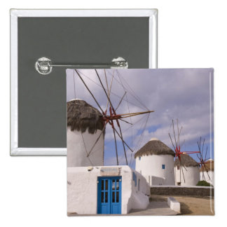 The windmills of Mykonos on the Greek Islands 2 Inch Square Button