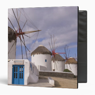 The windmills of Mykonos on the Greek Islands 3 Ring Binder