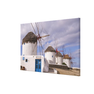 The windmills of Mykonos on the Greek Islands Canvas Print