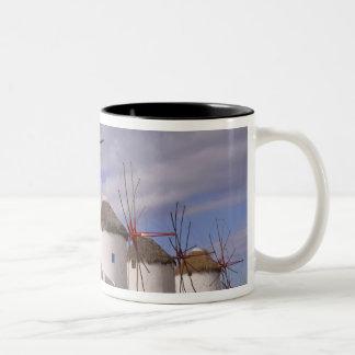 The windmills of Mykonos on the Greek Islands Two-Tone Coffee Mug
