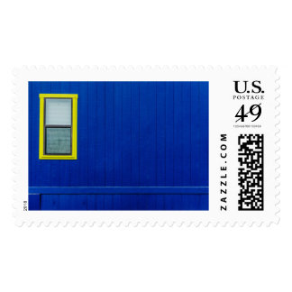 The window on a blue wall postage