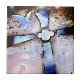The Window to Heaven Cross Dove Holy Spirit Tile