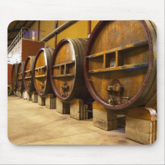 The wine cellar winery with big old wooden casks mouse pad