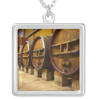 The wine cellar winery with big old wooden casks square pendant necklace
