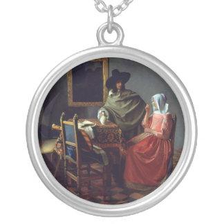 The Wine Glass, Jan Vermeer Round Pendant Necklace