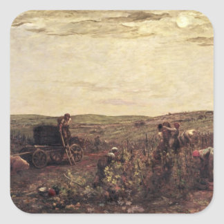 The Wine Harvest in Burgundy, 1863 Square Sticker