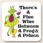 """The Wine Prince """"Fine Wine Between Frog & Prince"""" Drink Coasters"""