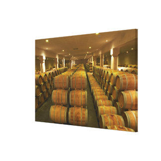 The winery barrel aging cellar - Chateau Baron Stretched Canvas Print