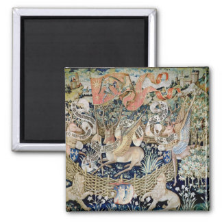 The Winged Deer (tapestry) 2 Inch Square Magnet