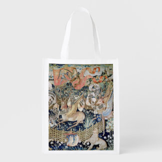 The Winged Deer (tapestry) Grocery Bags
