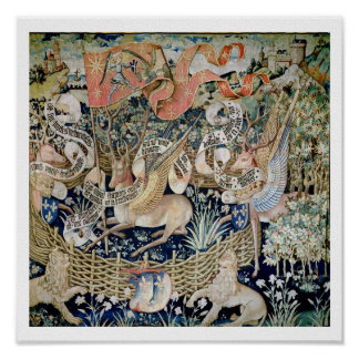 The Winged Deer (tapestry) Poster