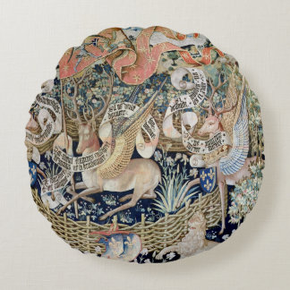 The Winged Deer (tapestry) Round Pillow