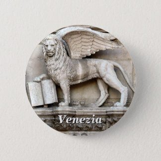 The Winged Lion of Saint Mark Statue Pinback Button