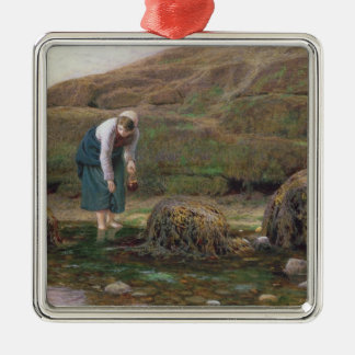 The Winkle Gatherer, 1869 Square Metal Christmas Ornament