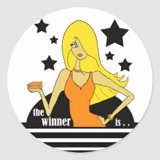 The Winner Is In An Orange Dress Classic Round Sticker